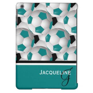 Monogram Teal Black Soccer Ball Pattern iPad Air Cover