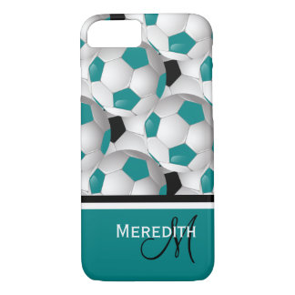 Monogram Teal Black Soccer Ball Pattern iPhone 7 Case