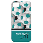 Monogram Teal Black Soccer Ball Pattern iPhone SE/5/5s Case