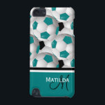 "Monogram Teal Black Soccer Ball Pattern iPod Touch 5G Case<br><div class=""desc"">If you would like this design in different color combinations, please contact us through our GiftsBonanza store. An eye-catching and stylish football soccer ball design featuring a pattern of black and white and teal and white soccer balls with accents in coordinating teal, black and white with your monogram initials and...</div>"