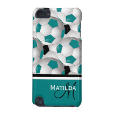 Monogram Teal Black Soccer Ball Pattern Ipod Touch 5g Case at Zazzle