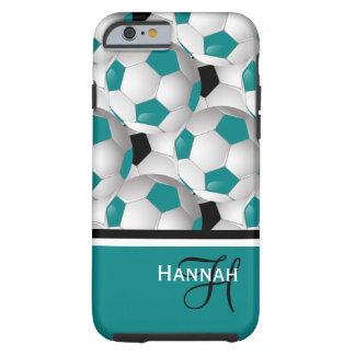 Monogram Teal Black Soccer Ball Pattern Tough iPhone 6 Case