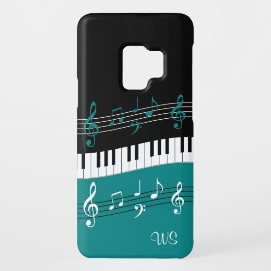 Monogram Teal Black White Piano Keys and Notes Case-Mate Samsung Galaxy S9 Case