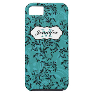 Monogram Teal Black White Swirls iPhone 5 Case