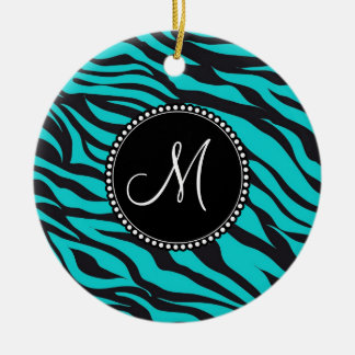 Monogram Teal Black Zebra Print Wild Animal Stripe Ceramic Ornament
