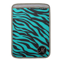 Monogram Teal Black Zebra Print Wild Animal Stripe MacBook Sleeve