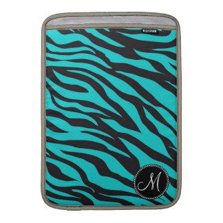 Monogram Teal Black Zebra Print Wild Animal Stripe MacBook Sleeve