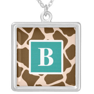 Monogram Teal Blue Giraffe Print Necklace