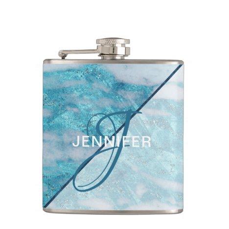Monogram Teal Blue Marble Geometric Bridesmaid Flask