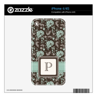 Monogram Teal Brown Damask iPhone 4 / 4s Skin iPhone 4 Decal