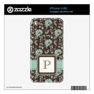 Monogram Teal Brown Damask iPhone 4 / 4s Skin iPhone 4 Decal