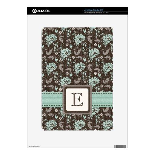 Monogram Teal Brown Damask Kindle DX Skin