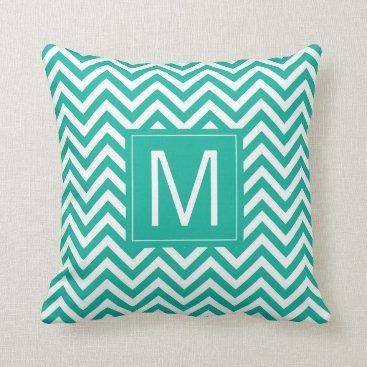 monogram_bouquet Monogram   Teal Chevron Pattern Throw Pillow