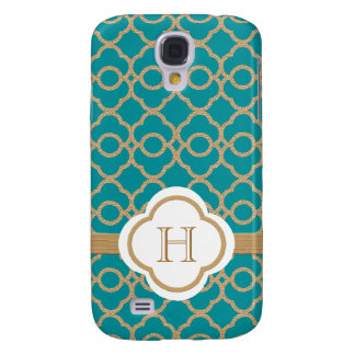 Monogram Teal Gold Moroccan Samsung Galaxy S4 Cover