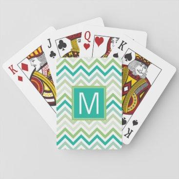 monogram_bouquet Monogram | Teal & Green Chevron Pattern Playing Cards