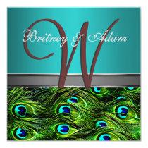 "Monogram Teal & Green Peacock Wedding Invitations 5.25"" Square Invitation Card"