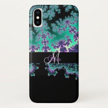 Beach Themed Monogram Teal Green Purple Fractal iPhone X Case