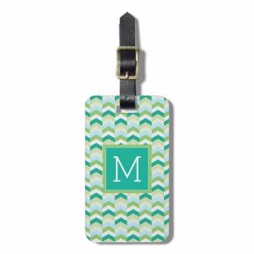 monogram_bouquet Monogram | Teal Herringbone Luggage Tag