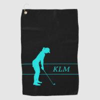 Monogram Teal on Black Woman Silhouette Golfer Golf Towel