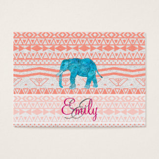 Monogram Teal Paisley Elephant Pink Aztec Pattern Business Card