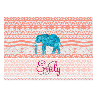 Monogram Teal Paisley Elephant Pink Aztec Pattern Large Business Card
