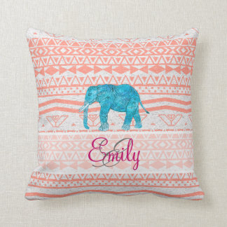 Monogram Teal Paisley Elephant Pink Aztec Pattern Throw Pillow