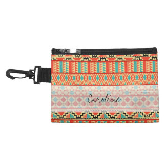 Monogram Teal Pink Abstract Tribal Print Pattern Accessory Bag