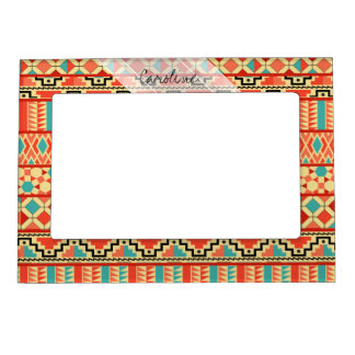 Monogram Teal Pink Abstract Tribal Print Pattern Magnetic Frame