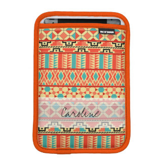 Monogram Teal Pink Abstract Tribal Print Pattern Sleeve For iPad Mini