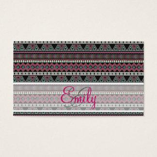 Monogram Teal Pink Black Aztec Tribal Pattern Business Card