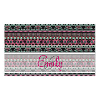 Monogram Teal Pink Black Aztec Tribal Pattern Double-Sided Standard Business Cards (Pack Of 100)