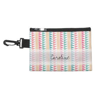 Monogram Teal Pink Geometric Ikat Stripes Pattern Accessory Bags