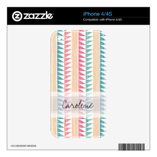 Monogram Teal Pink Geometric Ikat Stripes Pattern Skin For iPhone 4S