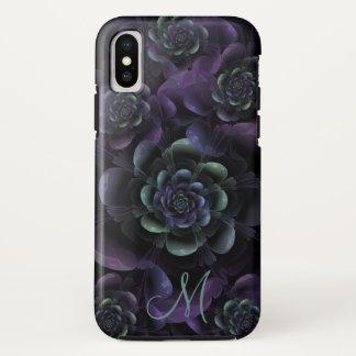 Monogram Teal Purple Lavender Black Floral iPhone X Case