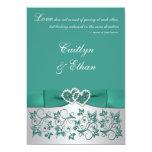 Monogram Teal, Silver Floral Wedding Invitation