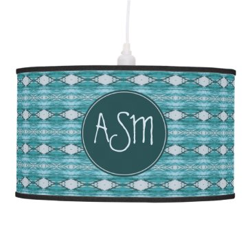 Aztec Themed Monogram | Teal Watercolor Aztec Tribal Pattern Hanging Lamp
