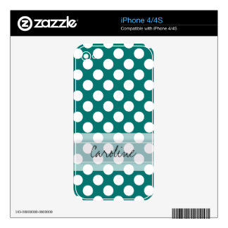 Monogram Teal White Cute Chic Polka Dot Pattern Decal For The iPhone 4S