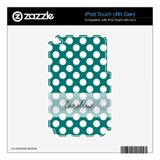 Monogram Teal White Cute Chic Polka Dot Pattern iPod Touch 4G Skins