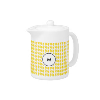 Monogram Teapots  |  Yellow and White Houndstooth