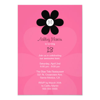 Monogram Teen Girl Birthday Party Invitation