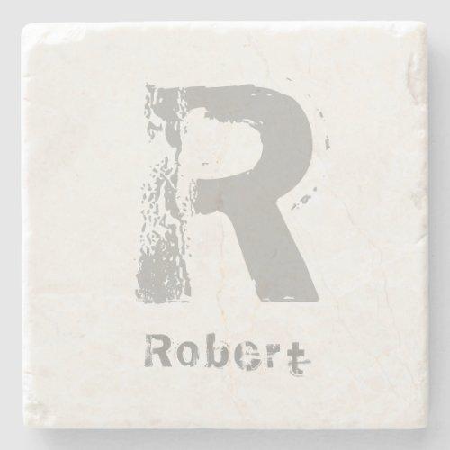 Monogram Template Elegant Design Letter Marble Top Stone Coaster