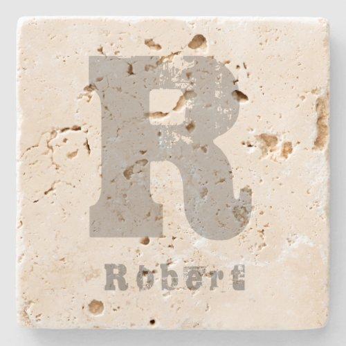 Monogram Template Elegant Design Letter Travertine Stone Coaster