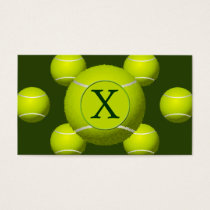 Monogram Tennis Balls Sports pattern, Business Card