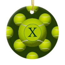 Monogram Tennis Balls Sports pattern, Ceramic Ornament