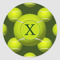 Monogram Tennis Balls Sports pattern, Classic Round Sticker