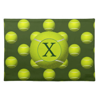 Monogram Tennis Balls Sports pattern, Cloth Placemat