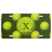 Monogram Tennis Balls Sports pattern, License Plate