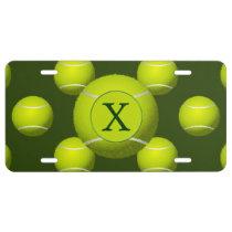 Monogram Tennis Balls Sports pattern, License Plate