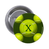 Monogram Tennis Balls Sports pattern, Pinback Button