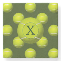 Monogram Tennis Balls Sports pattern, Stone Coaster